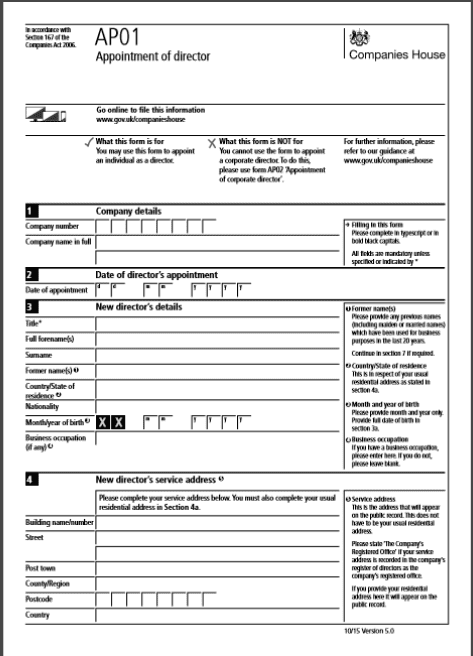 AP01 form for a Director of a Residents Management Company