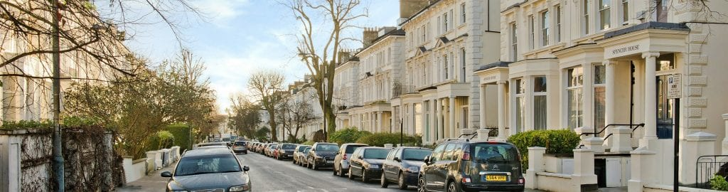 picture of a typical street in Belsize Park near Hampstead in North London