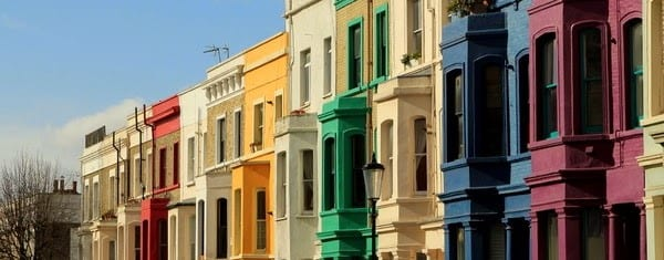 a picture of colourful houses near Notting Hill Gate