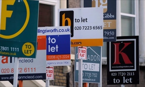 signage showing multiple estate agent boards showing flats to rent in london