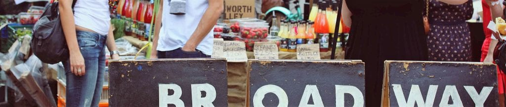 a picture of the market in London Fields called Broadway Market