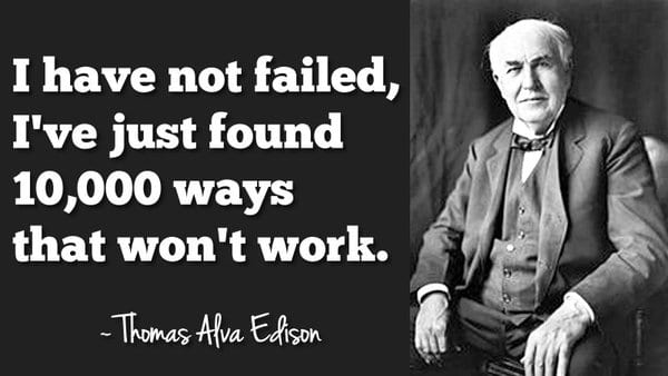 Edison quote on mistakes, useful for property managers