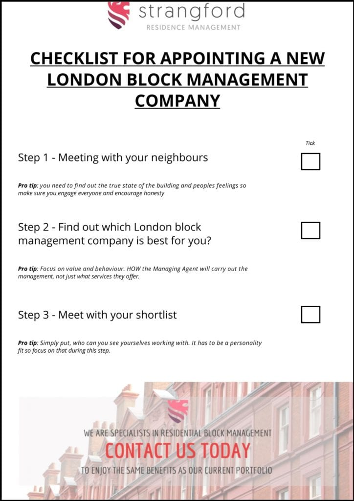 appointing a new london block management company checklist